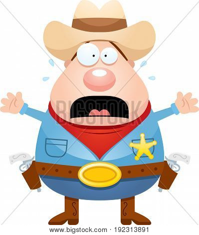 Scared Cartoon Sheriff