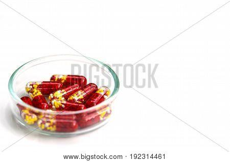 Medicine on white background in new drug concept.