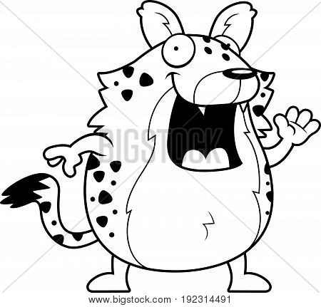 Cartoon Hyena Waving