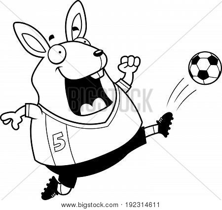 Cartoon Rabbit Soccer Kick