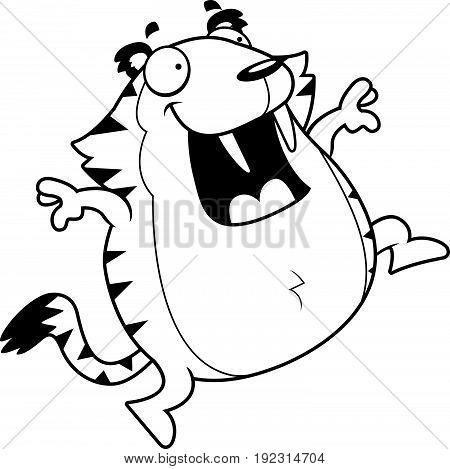 Cartoon Saber-toothed Tiger Jumping