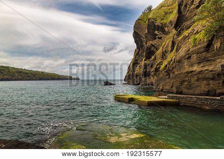 Porto Capelas Fishing Port On Sao Miguel Island