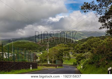 Road Between The Northern And Southern Parts Of Sao Miguel Island