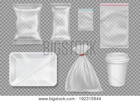 Big set of plastic packaging - sacks tray cup. Vector.