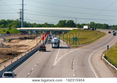 Road construction at the point where Interstate 480 exits Interstate 217 between Cleveland and Akron