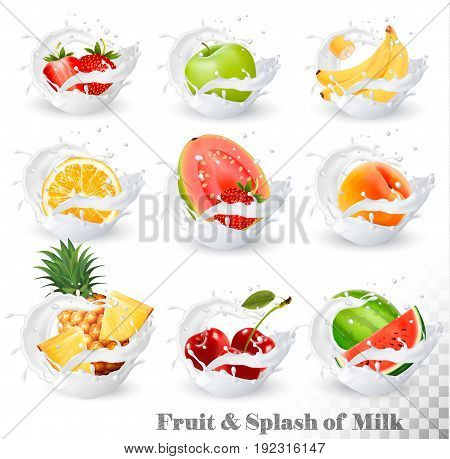 Big collection of fruit in a milk splash. Pineapple cherry banana apple watermelon peach guava strawberry orange. Vector Set 14.