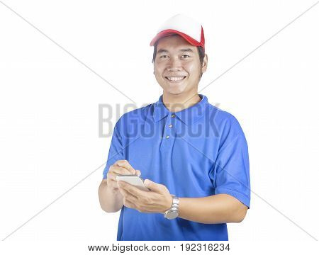 toothy smiling face of delivery man and smart computer in hand preparing for taking customer order isolated white background