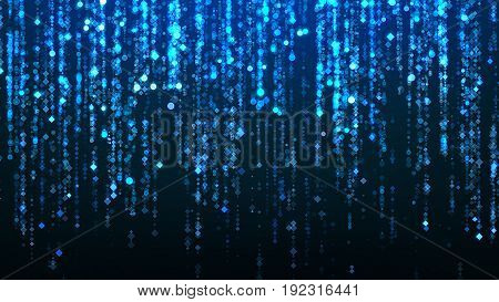 Particular Rain Illustration, Neon Blue Particles, Shiny Glow Light