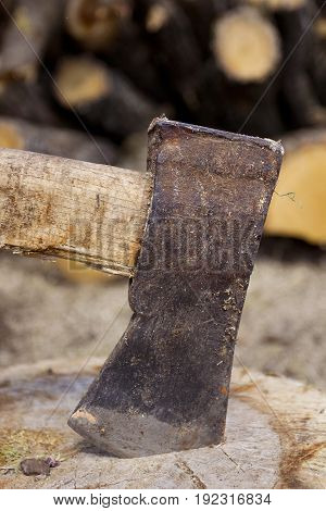 Close up shot of an axe in a stump with firewood in the background.