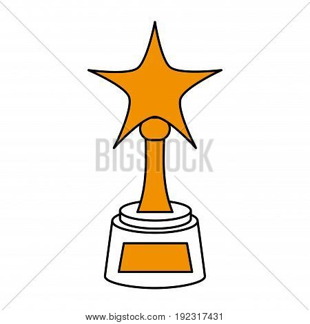 Flat line award with star over white background vector illustration