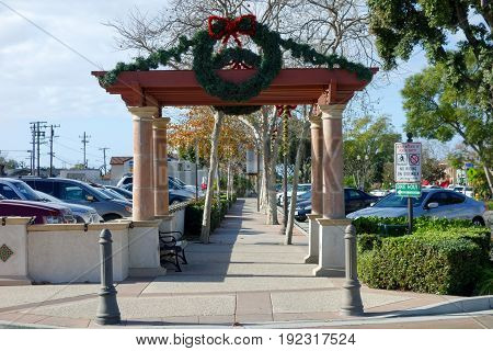 CAMARILLO CA USA - DECEMBER 19 2013: Christmas decoration along Ventura boulevard in Old Town of distinctive Southern California city of Camarillo Southern California