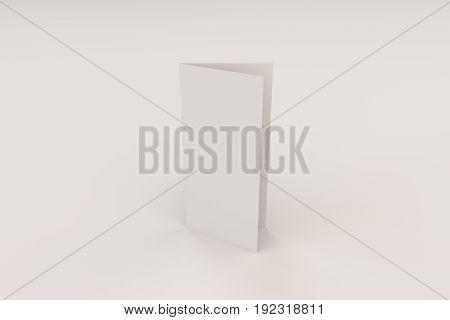 Blank White Closed Three Fold Brochure Mockup On Black Background