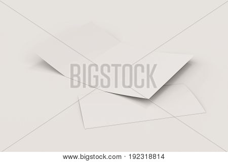 Blank White Open Three Fold Brochure Mockup On White Background
