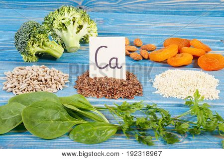 Products Or Ingredients Containing Calcium, Minerals And Dietary Fiber, Concept Of Healthy Nutrition