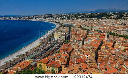 Nice City Coastline And Orange Rooftops Of The Old Town, Vieille Ville In Nice, French Riviera On Th