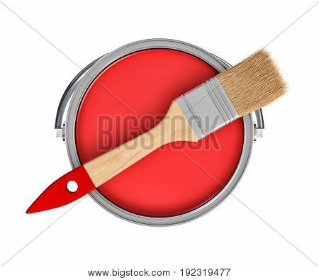 3d rendering of a red paint jar and a wooden brush with a red handle in top view on white background. Choose right color. Renovating your house. DIY.