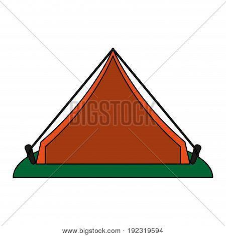 Orange tent over white background vector illustration