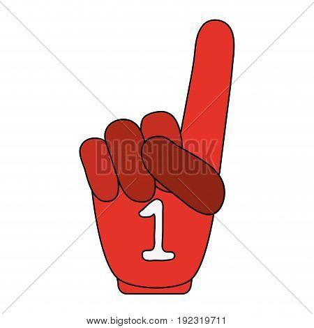 Number one glove over white background vector illustration