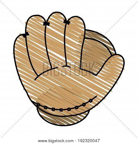 Baseball glove doodle over white background vector illustration