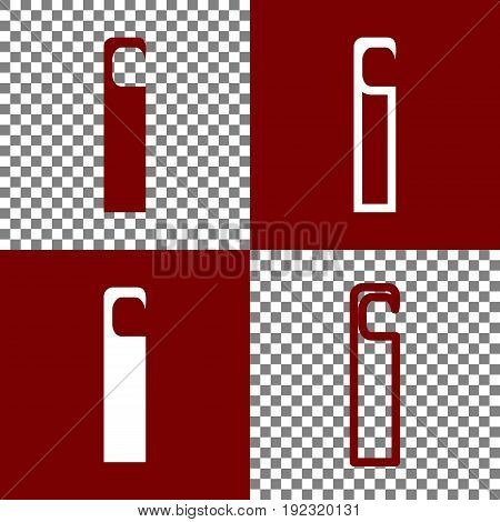 Hotel Door hanger tag sign. Vector. Bordo and white icons and line icons on chess board with transparent background.