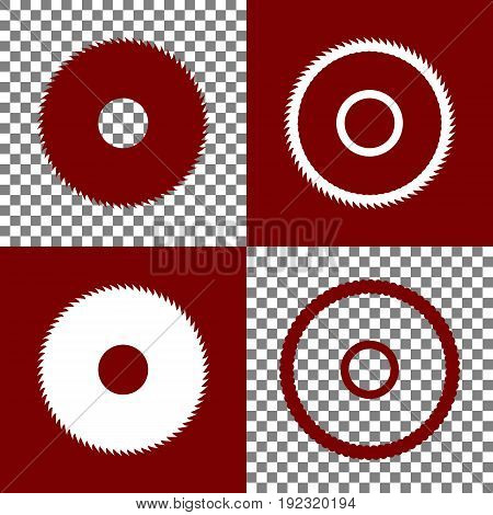 Saw sign. Vector. Bordo and white icons and line icons on chess board with transparent background.