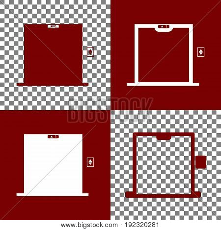 Elevators door sign. Vector. Bordo and white icons and line icons on chess board with transparent background.