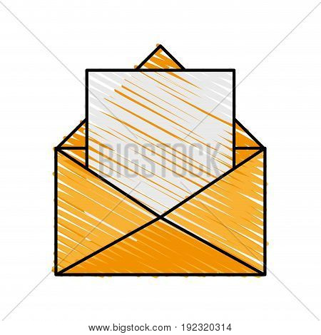 envelope and letter doodle over white background vector illustration