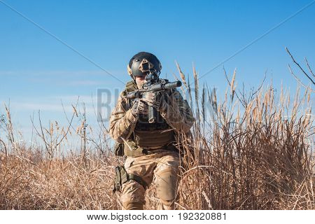 Soldiers on patrol during a military simulation Airsoft training game