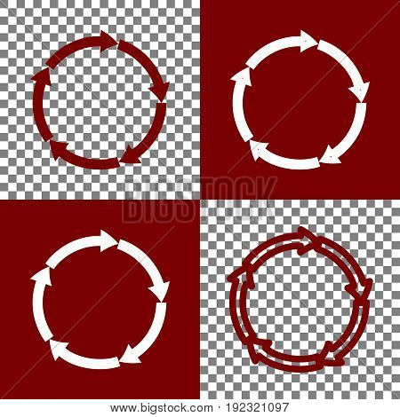 Circular arrows sign. Vector. Bordo and white icons and line icons on chess board with transparent background.