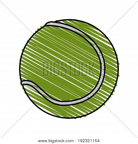 tennis ball doodle over white background vector illustration