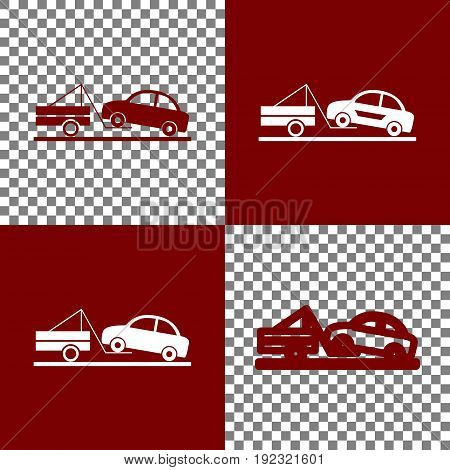 Tow truck sign. Vector. Bordo and white icons and line icons on chess board with transparent background.