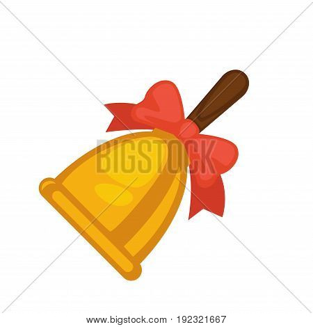 School yellow bell with red bow and brown handle isolated on white. Vector close up illustration in flat design of vintage metallic element making loud sound and inviting pupils for lessons.