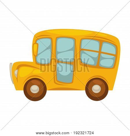 Cartoon shiny yellow bus with big windows, brown wheels, rear view mirrors and round spotlights isolated vector illustration on white background. Fast public transport for cheap travel round city.