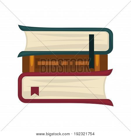 Books pile of three with clothing bookmarks isolated on white closeup vector poster in flat design. Paper sources of knowledge collection in green, brown and red covers. Reading template banner