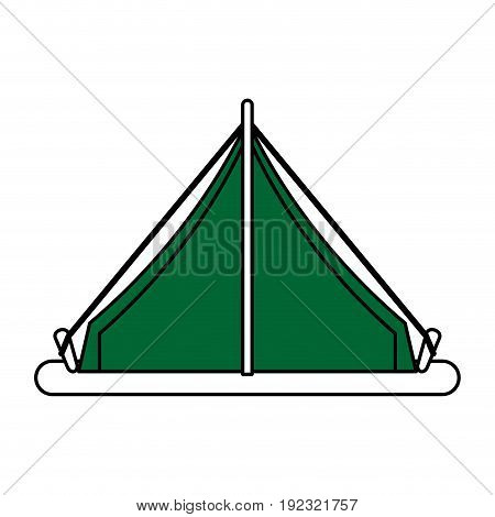 Flat line tent over white background vector illustration