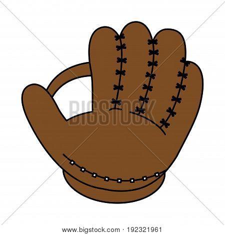 Flat line baseball glove over white background vector illustration