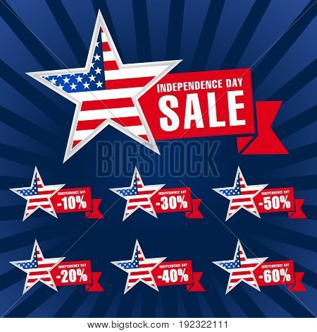 Independence day USA sale template on dark background. United States traditional holiday discounts. Patriotic stars, celebrating labels, web banners, fourth of July offer, % off vector illustration.
