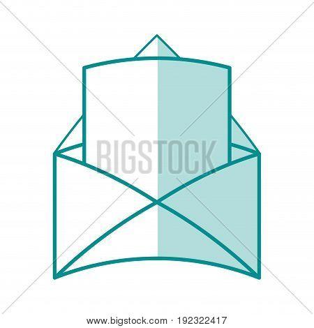 Flat line monocromatic envelope over white background vector illustration