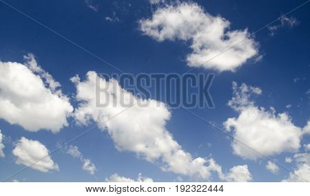 White clouds in the deep blue sky high resolution photo wallpaper natural background
