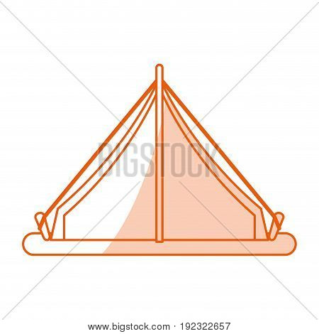 Flat line monocromatic tent over white background vector illustration