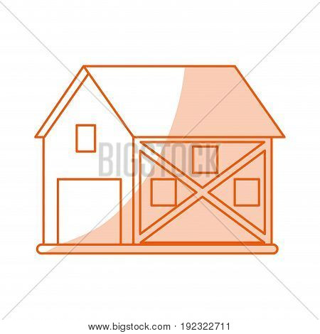Flat line monocromatic barn over white background vector illustration