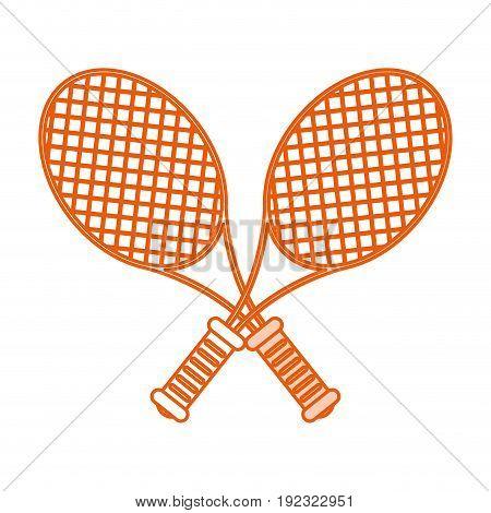 Flat line monocromatic rackets over white background vector illustration
