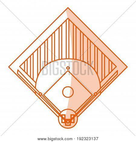 Flat line monocromatic baseball field over white background vector illustration