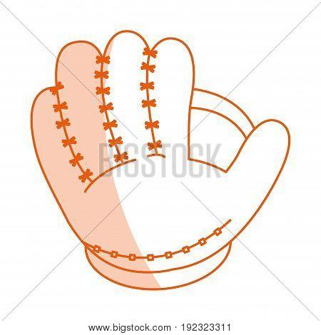 Flat line monocromatic baseball glove over white background vector illustration