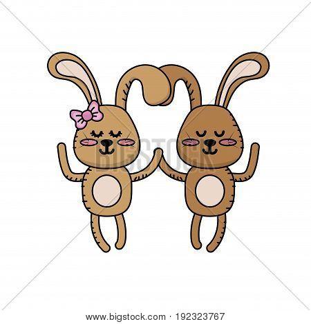 cute animal couple rabbit together vector illustration
