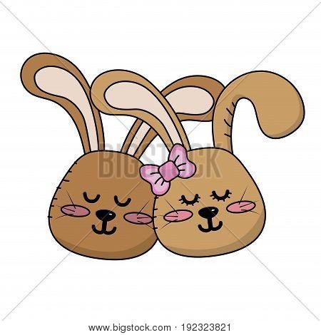 cute animal couple rabbit head together vector illustration