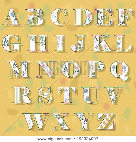 Spring Alphabet. White letters with colorful decor black edging and watercolor flowers and plants. Illustration