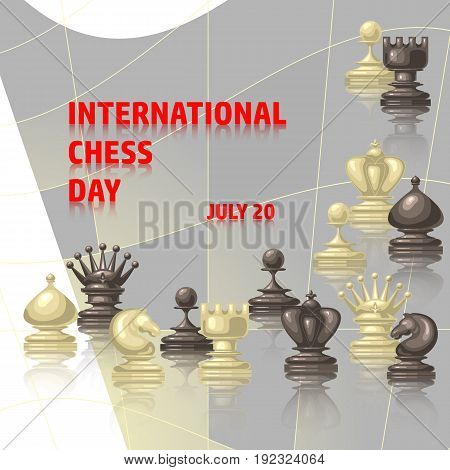 Chess background. International chess day card. July 20. Holiday congratulation poster