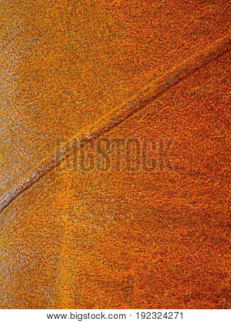 Close-up of rusty gold colored metal background.