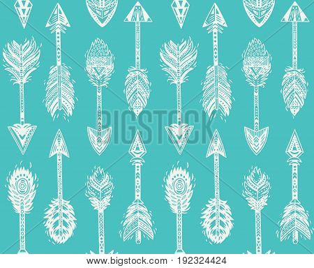 Seamless pattern with Native American Navajo arrows in mint colors. Bohemian style. American indian motifs. Vector illustration.